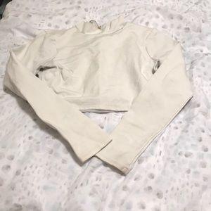 White long sleeve crop blouse